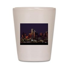 Dallas Skyline at Night Shot Glass