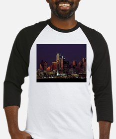 Dallas Skyline at Night Baseball Jersey