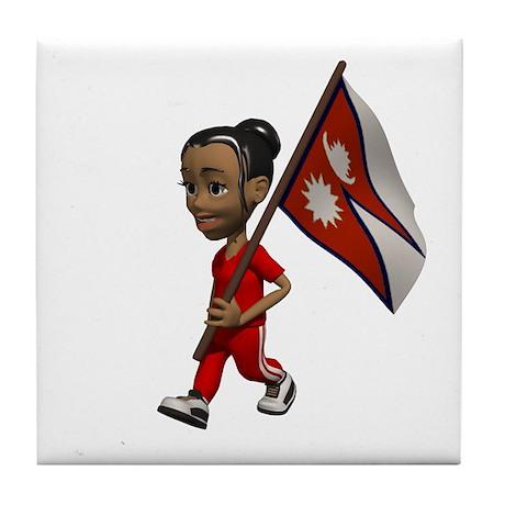 Nepal Girl Tile Coaster