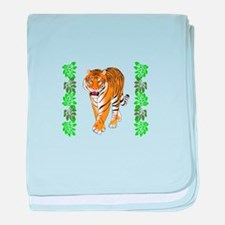 TIGER AND JUNGLE LEAVES baby blanket