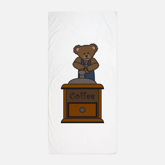 BEAR GRINDING COFFEE Beach Towel