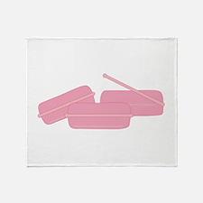 Pink Hair Rollers Throw Blanket