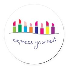 Express Yourself Border Round Car Magnet