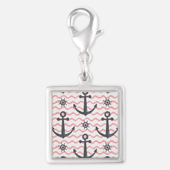 Anchors Silver Square Charm