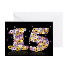 15th birthday card with flowery letters Greeting C