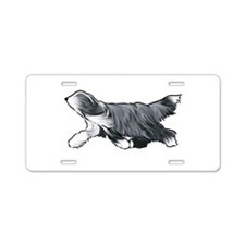 bearded collie Aluminum License Plate