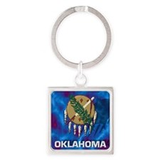 Oklahoma State Flag Square Keychain
