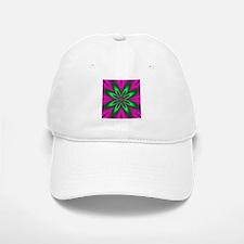 Green Flower on Pink by designeffects Baseball Baseball Cap