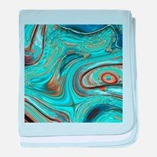 rustic turquoise swirls baby blanket