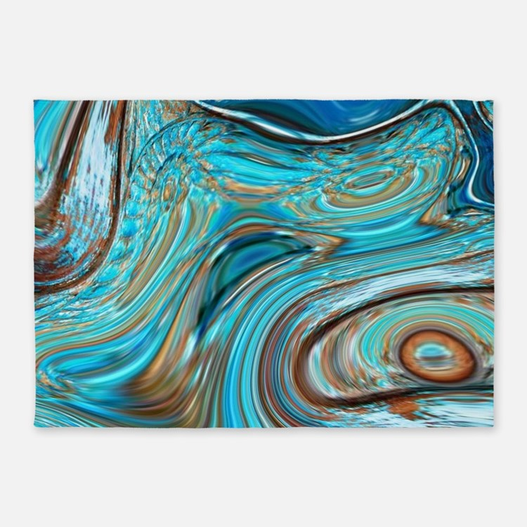 rustic turquoise swirls 5'x7'Area Rug