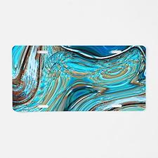 rustic turquoise swirls Aluminum License Plate