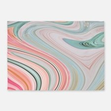 girly coral mint pattern 5'x7'Area Rug