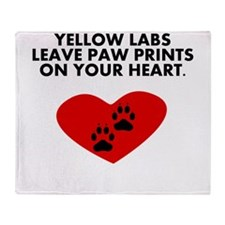 Yellow Labs Leave Paw Prints On Your Heart Throw B
