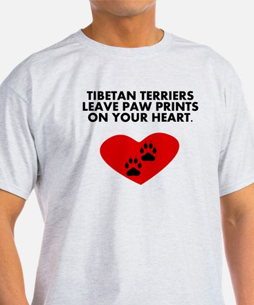 Tibetan Terriers Leave Paw Prints On Your Heart T-