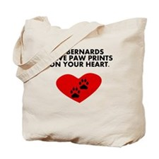 St. Bernards Leave Paw Prints On Your Heart Tote B