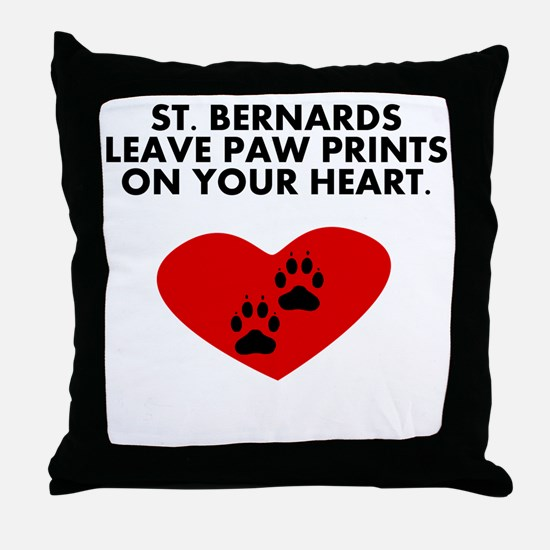 St. Bernards Leave Paw Prints On Your Heart Throw