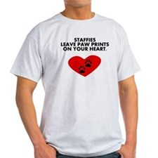 Staffies Leave Paw Prints On Your Heart T-Shirt