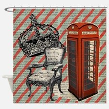 vintage telephone booth london Shower Curtain