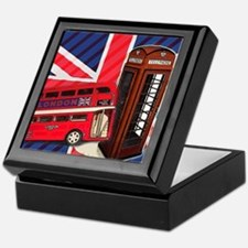 telephone booth london bus Keepsake Box