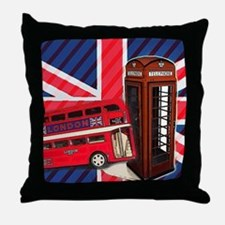 telephone booth london bus Throw Pillow