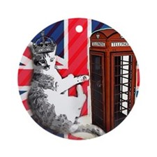modern london fashion cat Round Ornament