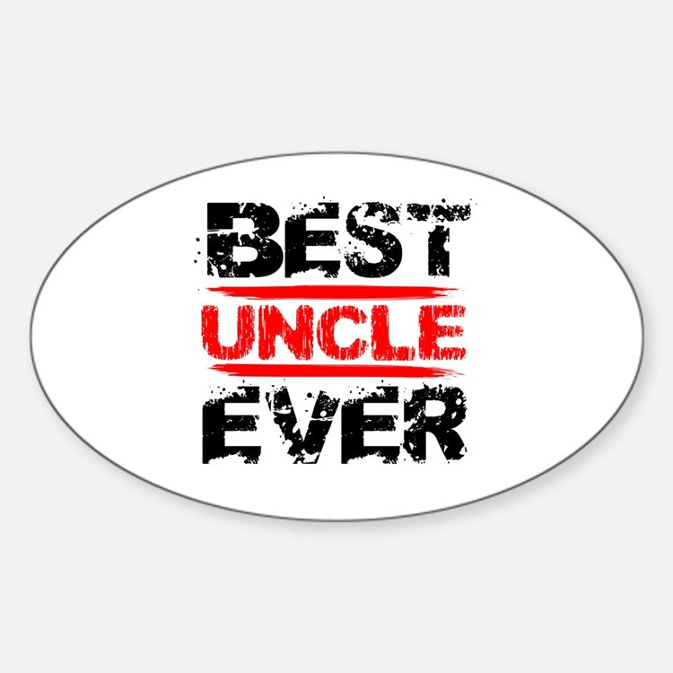 best uncle ever black and red grung Sticker (Oval)