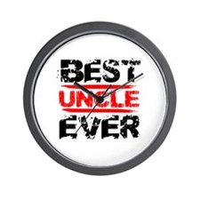 best uncle ever black and red grunge te Wall Clock