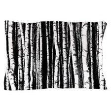 Artistic Birch Trees in black and white Pillow Cas