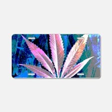 Pink Kush Leaf Aluminum License Plate