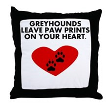 Greyhounds Leave Paw Prints On Your Heart Throw Pi