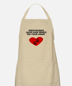 Greyhounds Leave Paw Prints On Your Heart Apron
