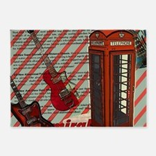 fashion london telephone guitar 5'x7'Area Rug