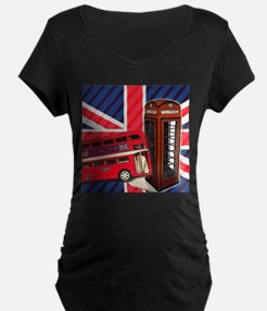 telephone booth london bus Maternity T-Shirt