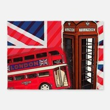 telephone booth london bus 5'x7'Area Rug