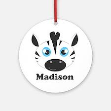 Custom Name Cute Zebra Ornament (Round)