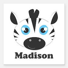 """Custom Name Cute Zebra Square Car Magnet 3"""" x 3"""""""