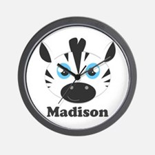 Custom Name Cute Zebra Wall Clock