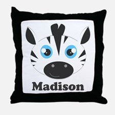 Custom Name Cute Zebra Throw Pillow