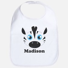 Custom Name Cute Zebra Bib