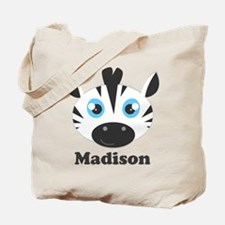 Custom Name Cute Zebra Tote Bag