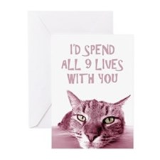 I'd Spend All 9 Lives Wi Greeting Cards (Pk of 20)