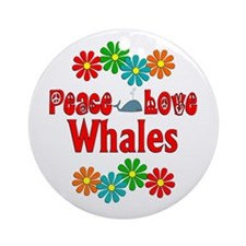 Peace Love Whales Ornament (Round)