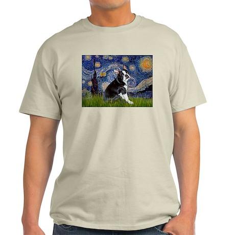 Starry Night & Boston Terrier Ash Grey T-Shirt