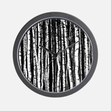 Artistic Birch Trees in black and white Wall Clock