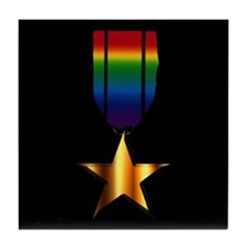 Gay Lesbian Rainbow Medal Tile Coaster