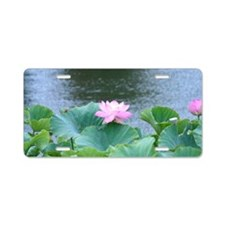 Pink Lotus flower Aluminum License Plate
