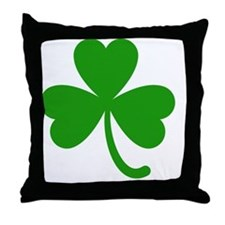3 Leaf Kelly Green Shamrock with Stem Throw Pillow