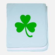 3 Leaf Kelly Green Shamrock with Stem baby blanket