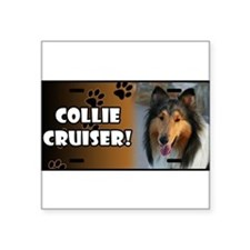 "Cute Collie Square Sticker 3"" x 3"""