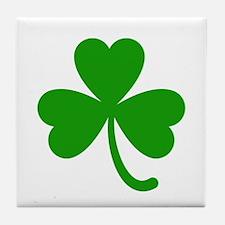 3 Leaf Kelly Green Shamrock with Stem Tile Coaster